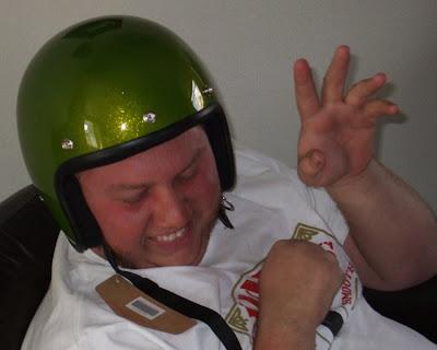 retard with helmet