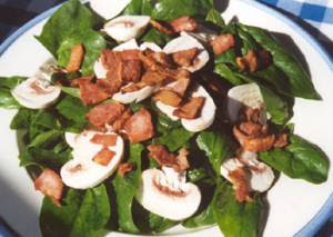 Spinach, Bacon and Mushroom Salad