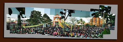 photomerged images of easter crowd at holy cross parish church in nabua