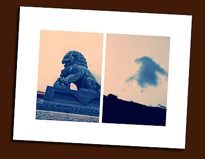 lion statue in forbidden city and lion-like cloud formation over great wall