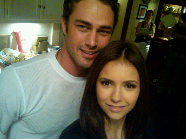 Nina Dobrev and Taylor Kinney on the set. Courtesy of Nina Dobrev