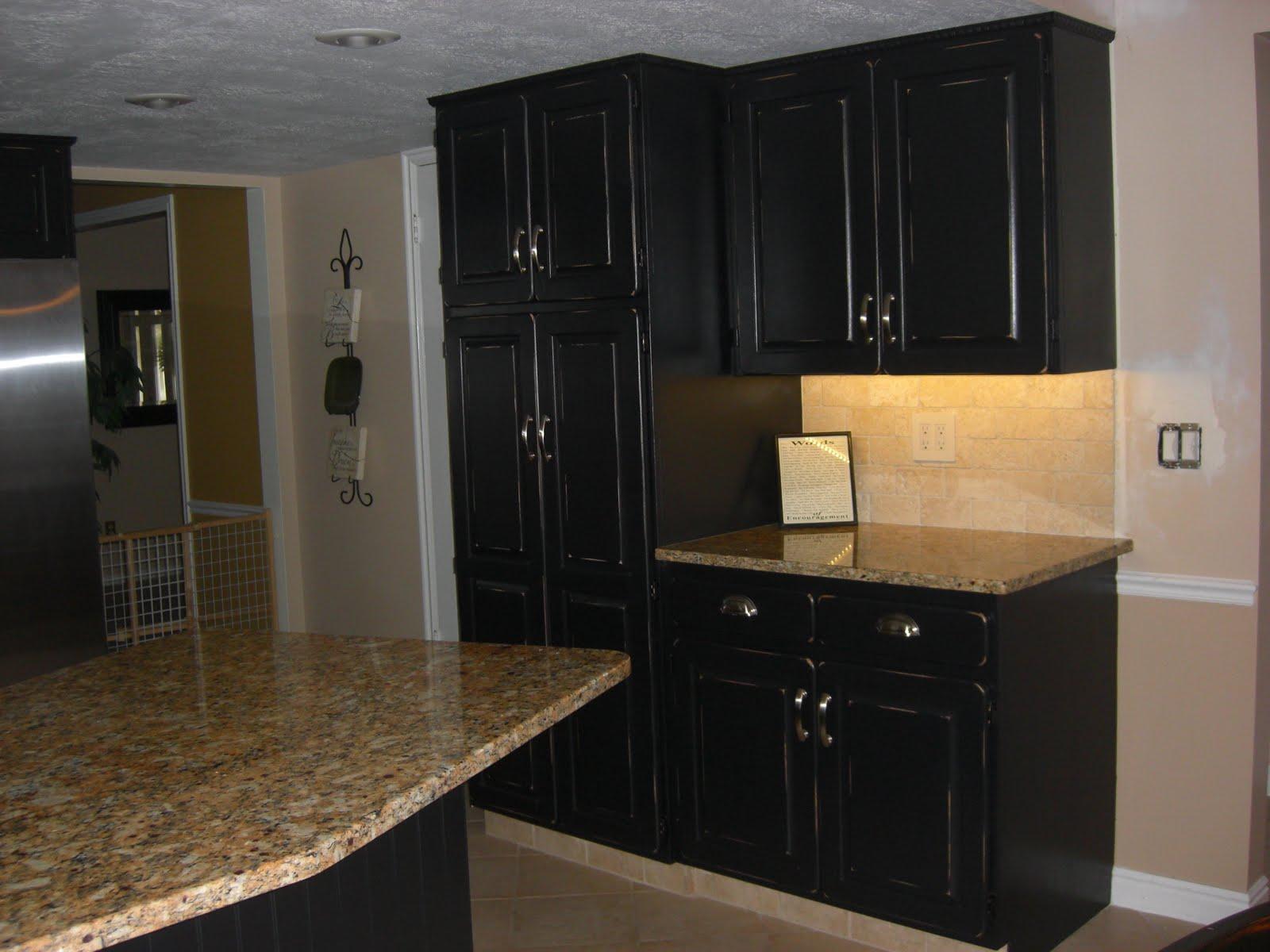 the empty nesters kitchen redo oak to black distressed. Black Bedroom Furniture Sets. Home Design Ideas
