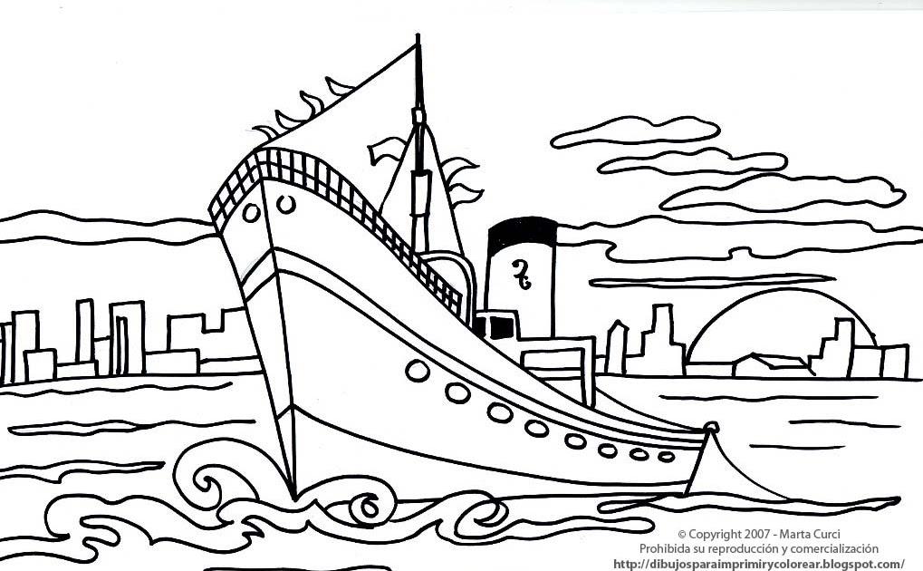 Dibujos para imprimir de medios de transporte: Dibujo de un barco ...