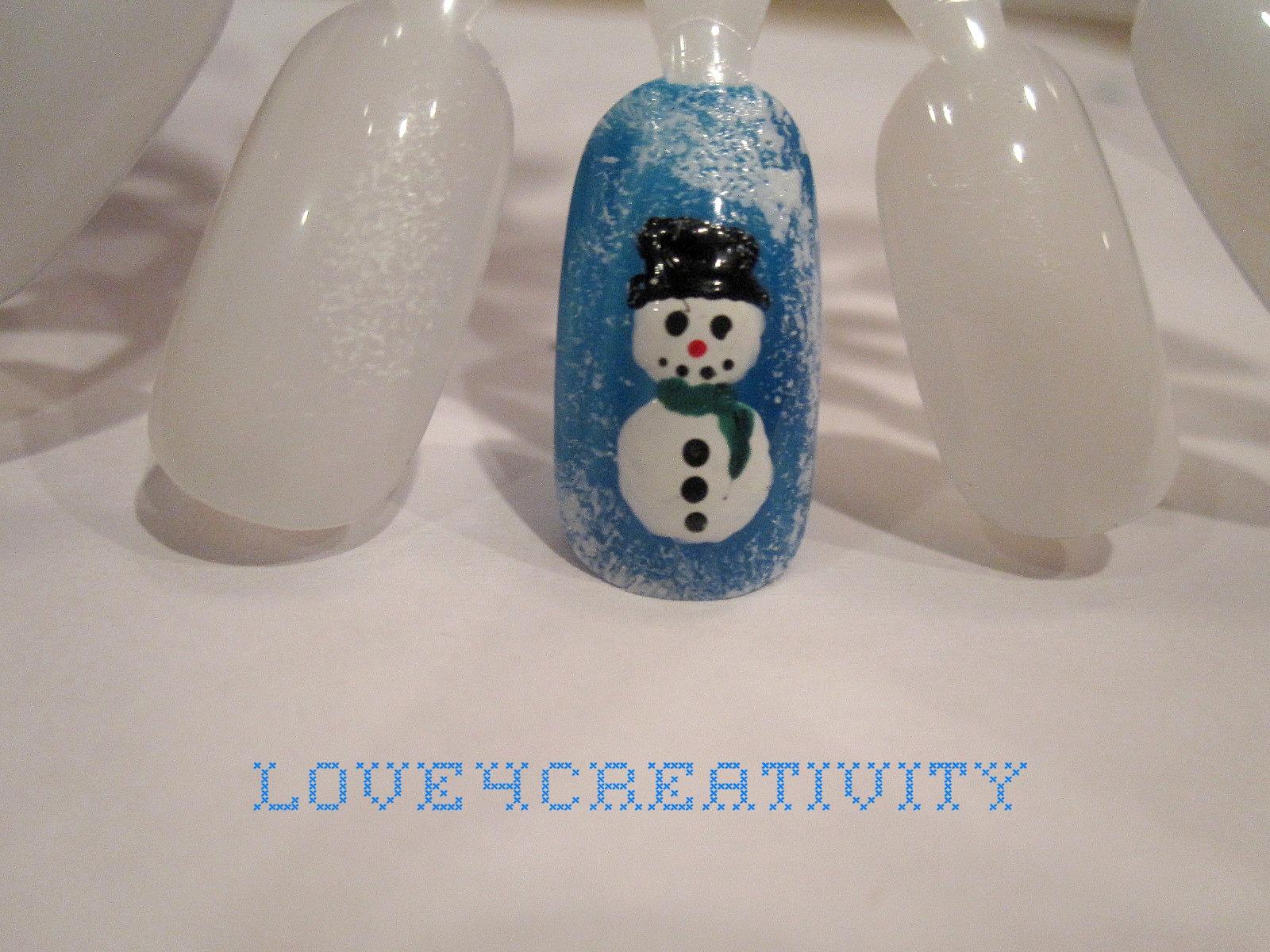 for creativity snowman nail design