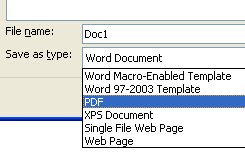 Menyimpan file PDF pada MS Word 2007