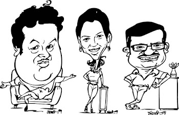 three caricatures of a bangloreans