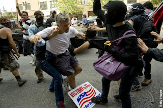 Protesters attack a Republican Attending the Convention.