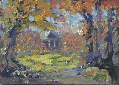 painting plein air in studio little house in the woods near me