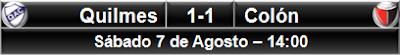 Quilmes 1-1 Colón Santa Fe