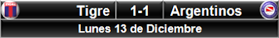 Tigre 1-1 Argentinos Jrs.