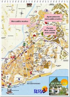 Mapa situación mercadillo de los martes en Nerja