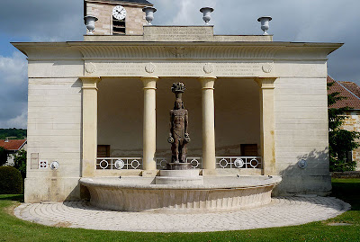 1831 Romantic Period French Egyptian Revival Wash House In Mauvages Department Of The Meuse Decorated With Four Bronze Lions Muzzles Adorn Facade And