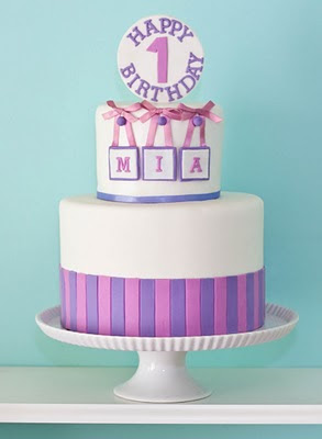 pink and purple birthday cake by Erica OBrien Cake Design | Hamden, CT