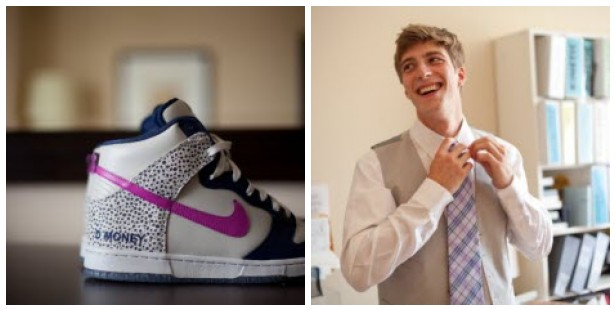 own shoes with Nike using some of the wedding colors navy and fuchsia