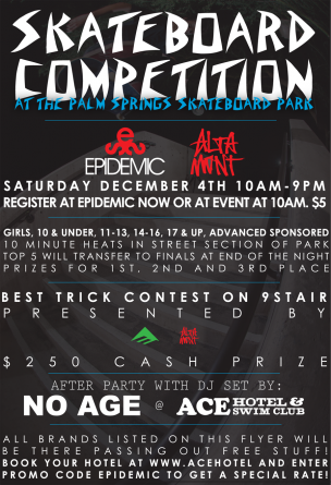 On December 4th, Altamont is taking over Palm Springs.In the daytime Altamont is joining forces with Emerica to support the annual Palm Springs skatepark contest organized by Epidemic skateshop.