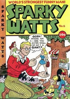 Sparky Watts Comic Book by Boody Rogers -- Are you extra small or am I a giant?