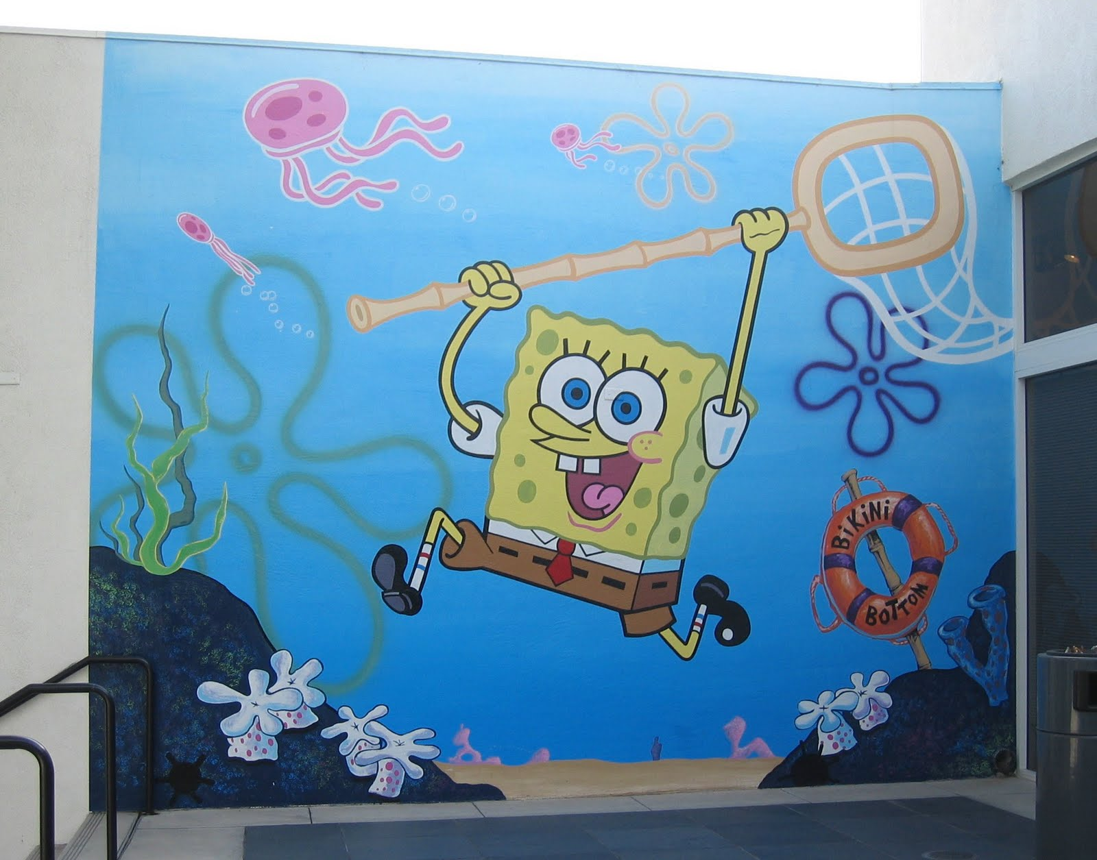 cartoon snap giant spongebob wall painting spongebob square pants wall mural for baby room