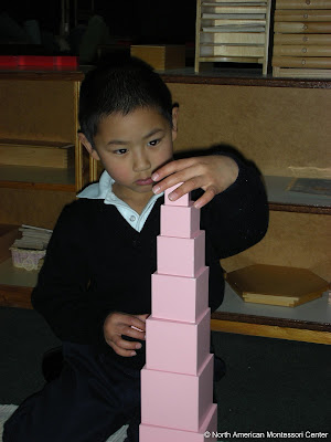autism special needs NAMC montessori classroom sucess boy pink tower