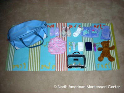 importance NAMC montessori practical life activities classroom packing a bag