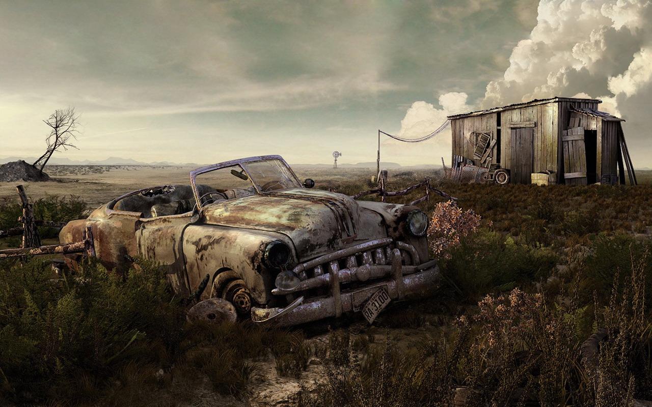 Abandoned Car Art Wallpaper
