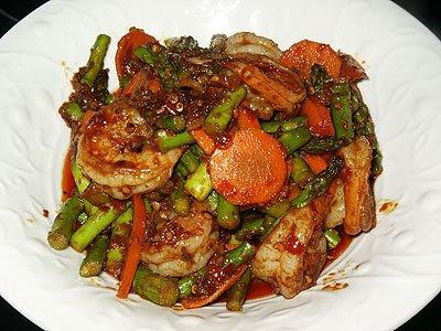 Sambal Asparagus with Shrimps