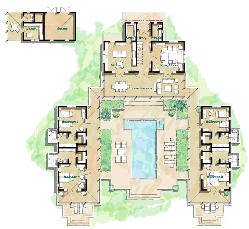 Mcm design island house plan 9 Hacienda house plans with courtyard