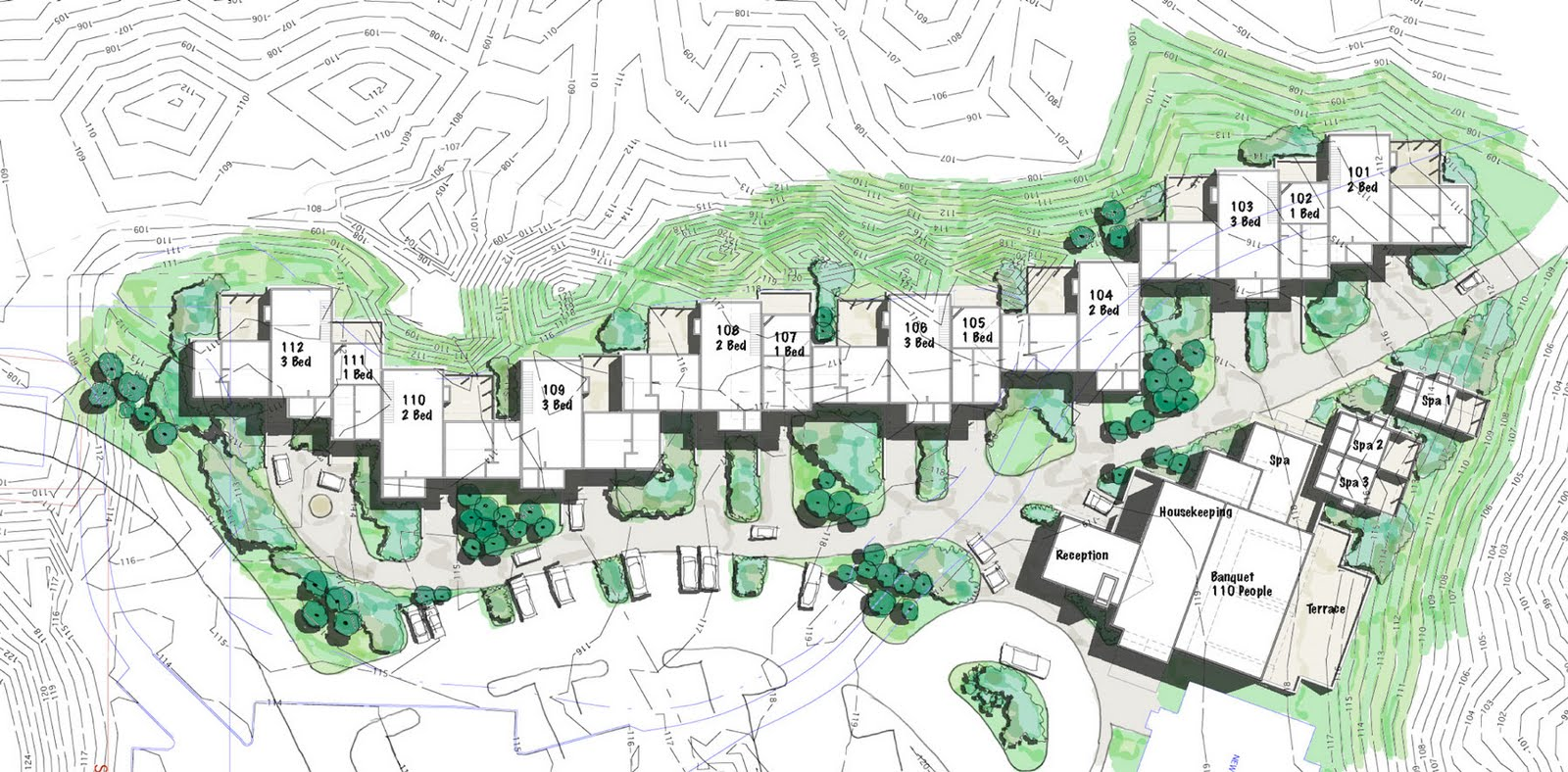 Top 28 small resort design plan design and for Small hotel building design