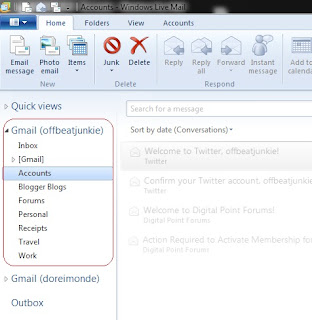 Gmail to Windows Live Mail 2011 accessed