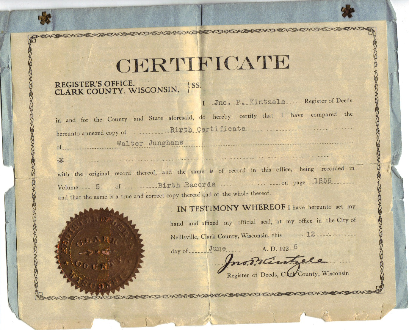 Junghans ancestry walter junghans birth certificate walter junghans birth certificate aiddatafo Image collections
