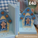 Blue Gingerbread House Bookends