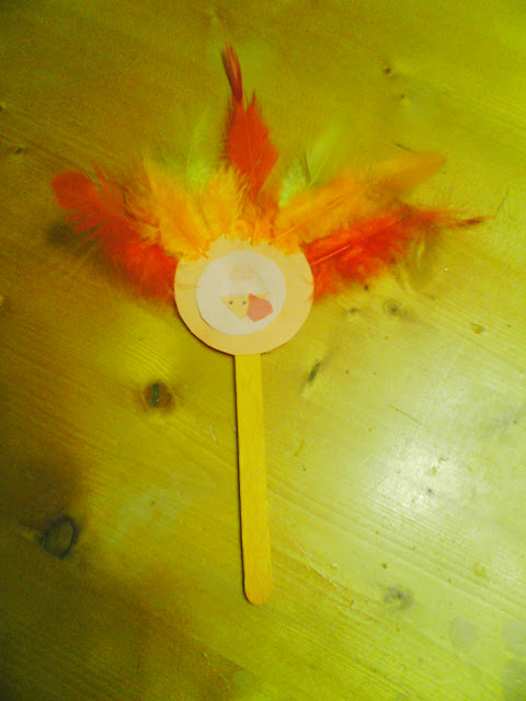 Native American Indian and Turkey Craft for Kids with popsicle stick and feathers. Fun puppets or fridge magnets.