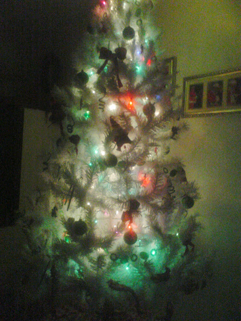 White Christmas Tree with Lights.