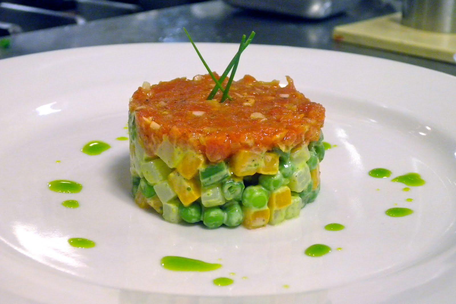macédoine de légumes topped with tomato fondue