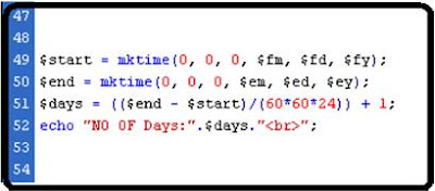 How to find no of days between two dates  php