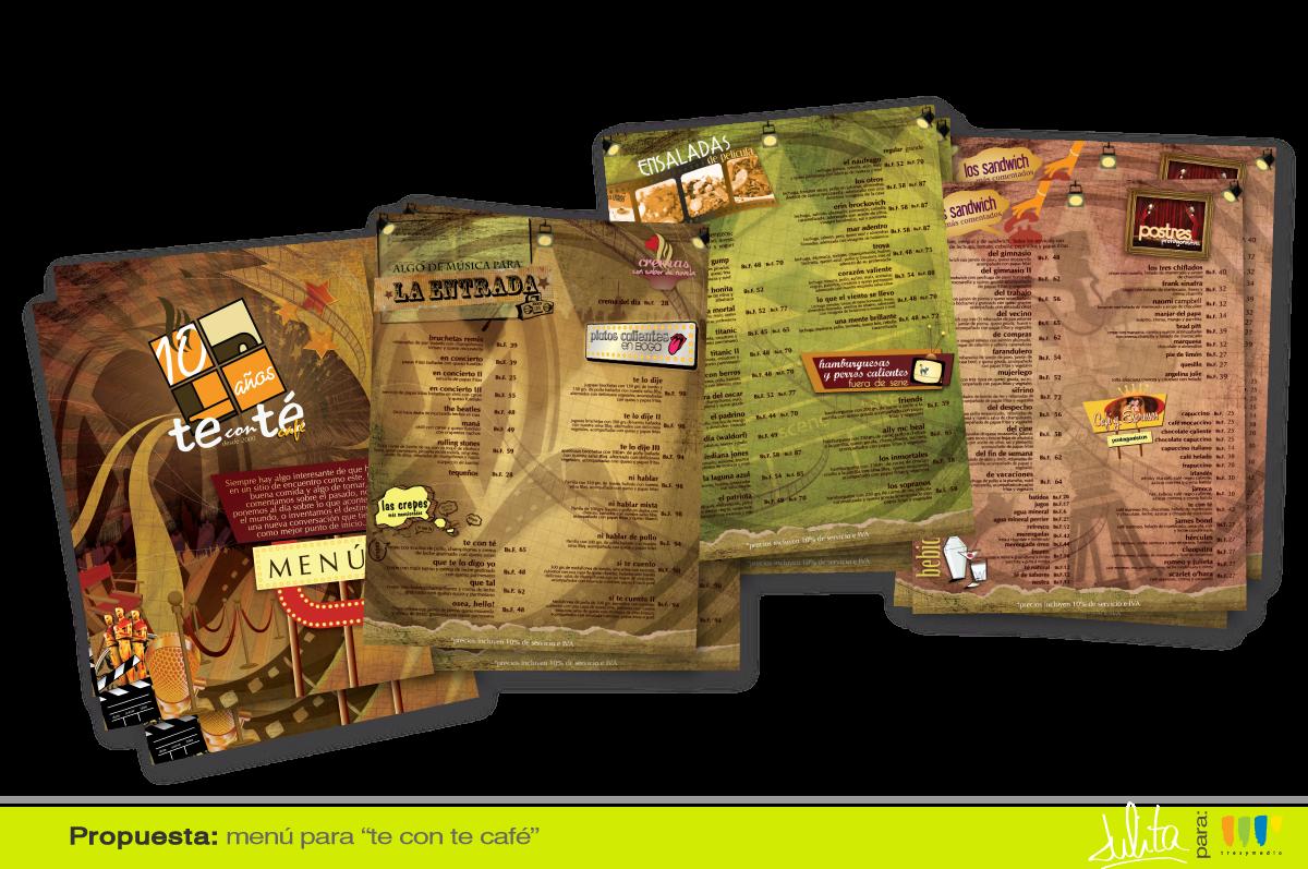 Julita graphic design dise o de men para te con t for Disenos de menus para cafeterias