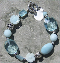 Aquamarine, Amazonite and Quartz Bracelet