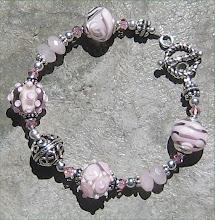 Pale Pink Lampwork and Rose Quartz