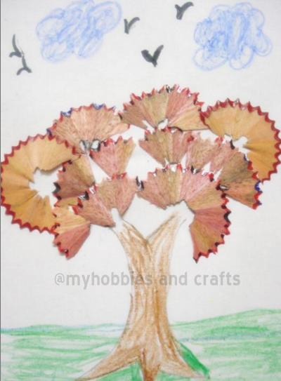 My hobbies and crafts tree with pencil shavings for Crafts and hobbies ideas