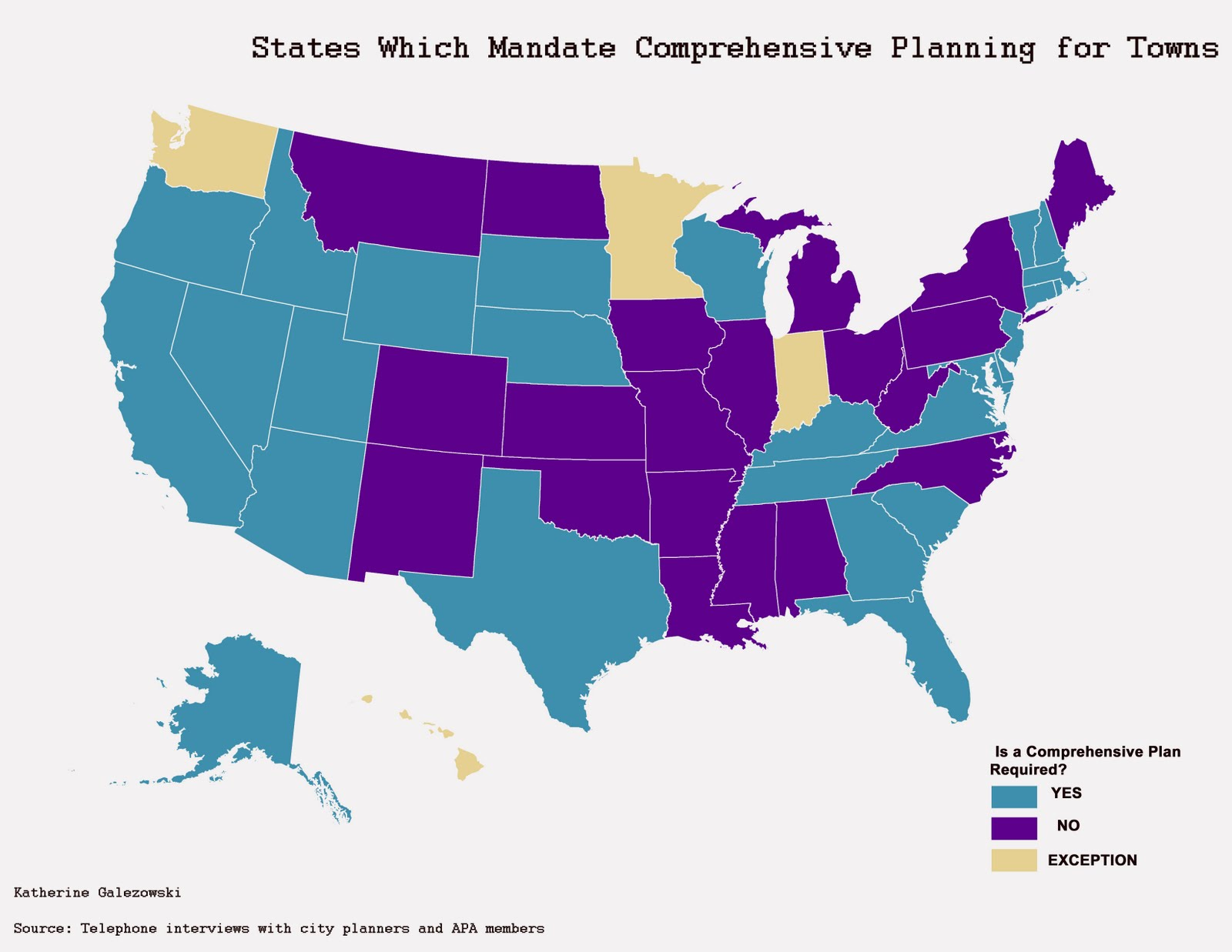 map of u s states which require every municipality towns and cities to file a comprehensive plan