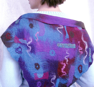 Wool,felt,felted,scarf,hip wrap,headscarf,kerchief,nuno felted