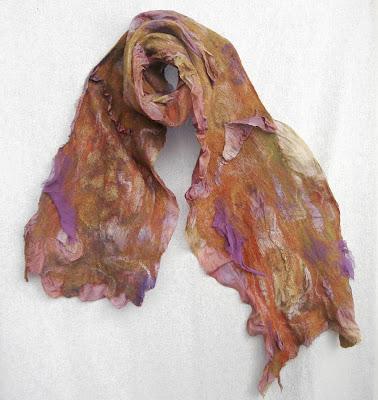 silk scarf, nuno felted, wool, spring