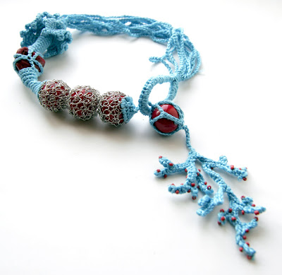 freeform crochet necklace jewelry sea insoired coral turquoise