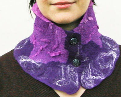 scarf, collar, women fashion, nuno felted, wool, silk, handmade