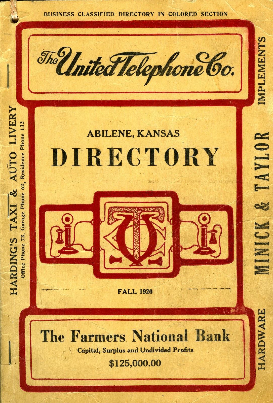 Kansas dickinson county abilene - Abilene S 1920 Directory Image Courtesy Of The Dickinson County Historical Society