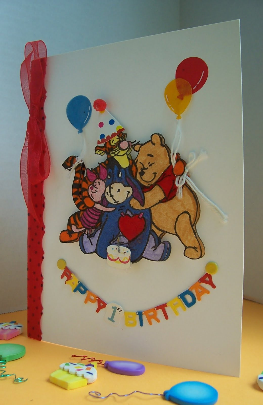 scrapping with sherry winnie the pooh  friends birthday card, Birthday card