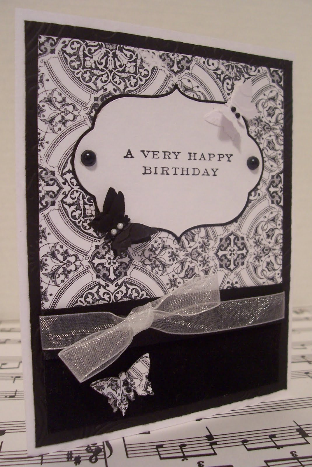 Scrapping with sherry black white birthday card