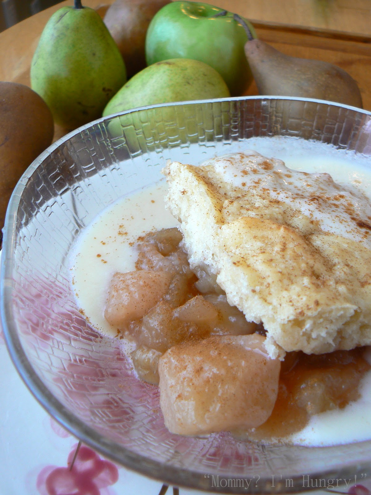 MIH Recipe Blog: Roasted Apple Pear Cobbler with Custard Sauce