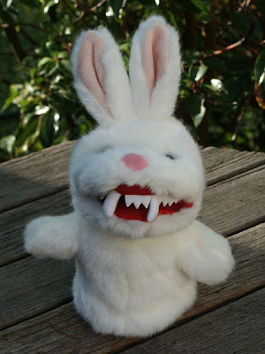It's a fearsome Rabbit of Caerbannog hand puppet, complete with fangs just