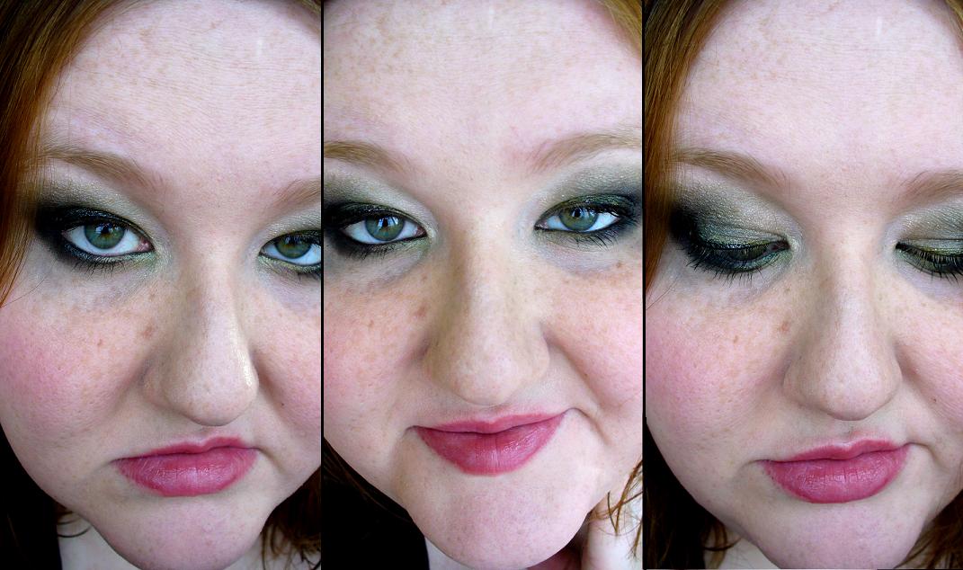 smokey green eye makeup. I have green eyes,