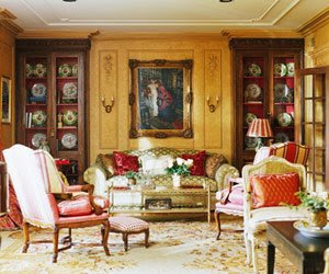love the way this French sitting room displays a collection of fruit